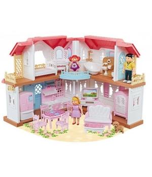 Дом для кукол (с мебелью и куколками), двухэтажный