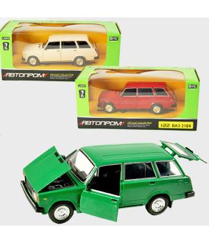 Машинка Жигули ВАЗ-2104 коллекционная модель Lada 2104 металлическая, 1:22 (3 цвета), Автопром