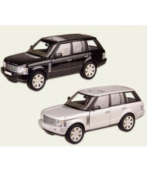 Машинка Джип Рейндж Ровер коллекционная модель LAND ROVER RANGE ROVER металлическая, 1:24, (черный, серебристый), Welly