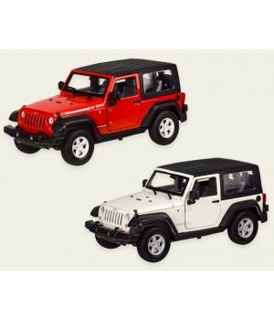 Машинка Джип Вранглер Рубикон коллекционная модель JEEP WRANGLER RUBICON металлическая, 1:24, (белый, красный), Welly