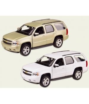 Машинка Шевроле Тахо коллекционная модель Chevrolet Tahoe металлическая, 1:24, (белая, золотистый ), Welly