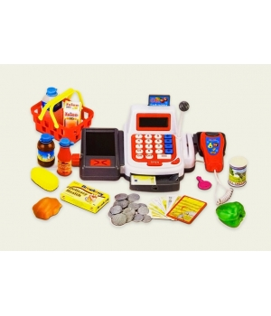 Кассовый аппарат игрушка на батарейках (звук, продукты,корзинка,микрофон)