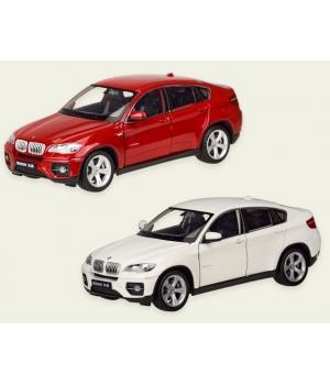 Коллекционная модель БМВ х6 (BMW X6) машинка металлическая, 1:24, (красный, белый), WELLY
