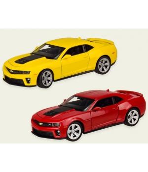 Машинка Шевроле Камаро зл1 коллекционная модель Chevrolet Camaro ZL1 металлическая, 1:24, (желтая, красная), Welly