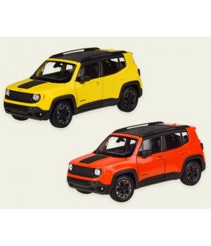 Машинка Джип Ренегат Трейлхок коллекционная модель JEEP RENEGADE TRAILHAWK металлическая, 1:24, (желтый, красный), Welly