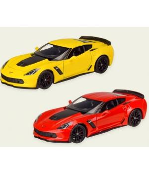 Машинка Шевроле Корветт з06 коллекционная модель Chevrolet Corvette Z06 металлическая, 1:24, (желтая, красная), Welly