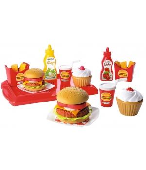 """Набор продуктов игрушечный """"Гамбургер"""", с посудой, 25 аксессуаров, Ecoiffier"""