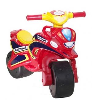 Детский мотоцикл беговел, Полиция, красный цвет, Doloni Toys