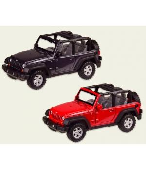 Машинка Джип Вранглер Рубикон 2007 коллекционная модель JEEP WRANGLER RUBICON металлическая, 1:32, (черный, красный), Welly