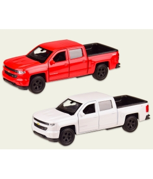 Машинка Шевроле Сильверадо коллекционная модель Chevrolet Silverado металлическая, 1:32, (белая, красная), Welly