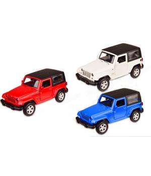 Машинка Джип Вранглер коллекционная модель JEEP WRANGLER металлическая, 1:42, (красный, белый, синий), Автопром