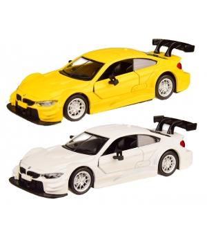 Коллекционная модель БМВ М4 ДТМ (BMW M4 DTM) машинка металлическая, 1:44, (белая, желтая), Автопром