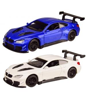 Коллекционная модель БМВ М6 ГТ3 (BMW M6 GT3) машинка металлическая, 1:44, (белая, синяя), Автопром