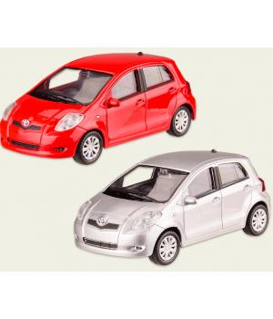Машинка Тойота Ярис коллекционная модель TOYOTA YARIS металлическая, 1:43, (красный, белый), Welly