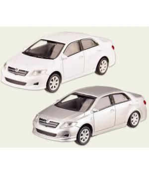 Машинка Тойота Королла коллекционная модель Toyota Corolla 2008 металлическая, 1:43, (белый, серебристый), Welly