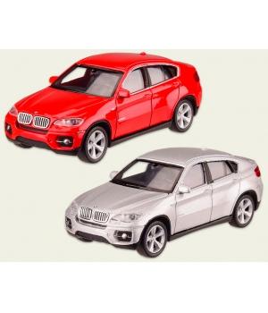 Коллекционная модель БМВ х6 (BMW X6) машинка металлическая, 1:43, (красный, серебристый), WELLY