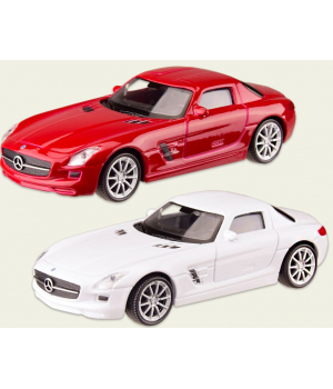 Машинка MERCEDES-BENZ SLS AMG металлическая, коллекционная модель Мерседес Бенз СЛС, 1:43, (белый, красный), WELLY