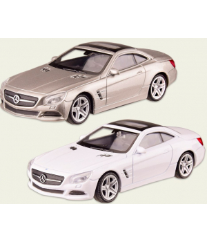 Машинка MERCEDES-BENZ SL500 металлическая, коллекционная модель Мерседес Бенз, 1:43, (белый, серебро), WELLY