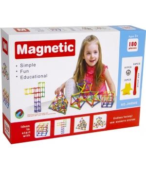 Конструктор магнитный палочки и шарики, 180 деталей, Magnetic
