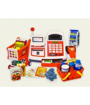 Игрушка касса для детей на батарейках (звук, свет, с продуктами, корзинкой, деньгами)