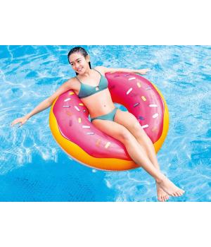 Надувной круг в виде Пончика, розовый, 114 см, от 14 лет