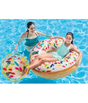 Детский надувной круг для плавания Пончик, винил, 114 см, от 9 лет