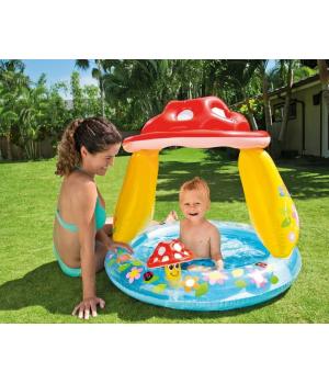 Детский бассейн с навесом Грибочек, для маленьких детей, Intex