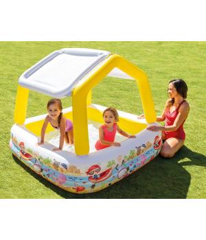 Детский бассейн с навесом, для маленьких детей, Intex