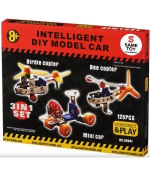 Конструктор металлический вертолет и мини-авто, 3 в 1, Same Toy