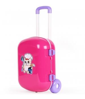 Игрушечная кухня в чемоданчике, с набором посуды, Технок, розовый