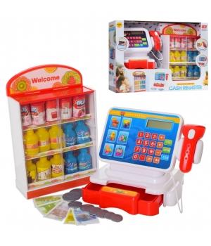 Игрушечный кассовый аппарат на батарейках (звук,сканер,калькулятор, продукты)