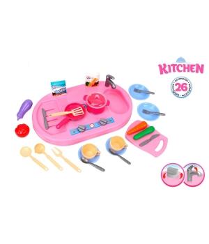 Детская игрушка раковина с набором посуды и продуктов, Технок