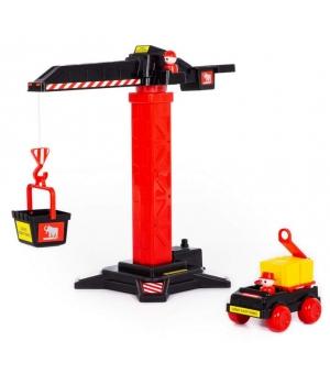 """Подъемный кран игрушка 66 см, с машинкой, Полесье """"MAMMOET"""""""