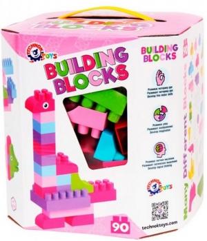 """Конструктор для девочки """"Building Blocks"""", 90 деталей, розовый, Технок"""