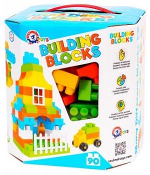 """Конструктор для мальчика """"Building Blocks"""", 90 деталей, голубой, Технок"""