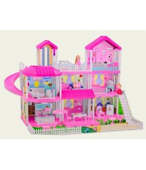 Кукольный домик 3 этажа (мебель, 2 куколки, лестница, аксес, свет)