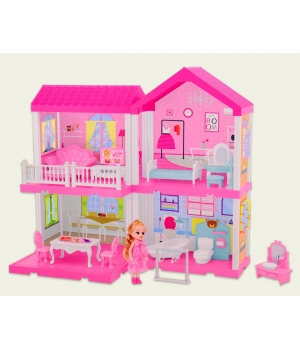 Кукольный домик 2 этажа (мебель, куколка), Pretty Doll House