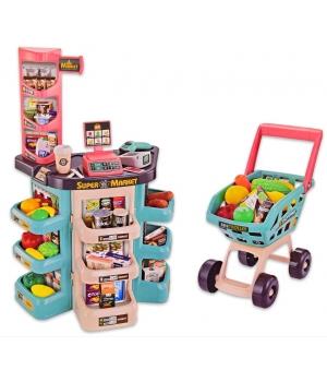 Игрушка супермаркет большой (тележка, продукты,звук, свет,звук, прилавок)
