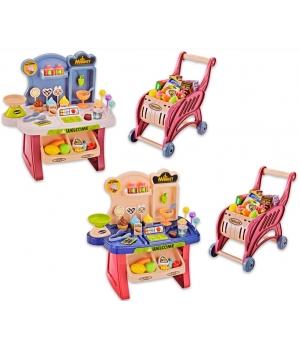 Игрушка супермаркет (2 цвета,свет,звук,касса,весы,столик,тележка,продукты)