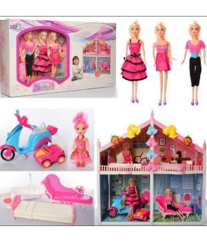 Домик для куклы барби 2-х этажный (мебель, куклы,мопед)