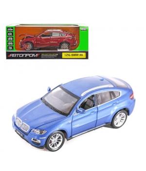 Коллекционная модель БМВ х6 (BMW X6) машинка металлическая, 1:26, (синий, красный), Автопром