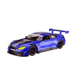 Коллекционная модель БМВ М6 ГТ3 (BMW M6 GT3) машинка металлическая, 1:24, (синяя), Автопром