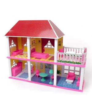Домик для куклы барби 2-х этажный с мебелью