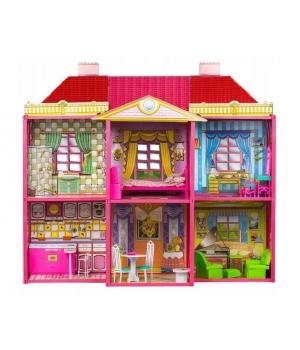 Большой кукольный дом для барби 2 этажный, с мебелью, 128 деталей, на 6 комнат