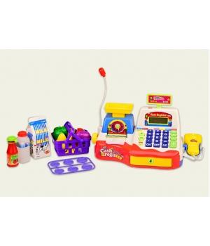 Игрушка касса для детей с микрофоном, на батарейках (свет,звук,весы,калькулятор)