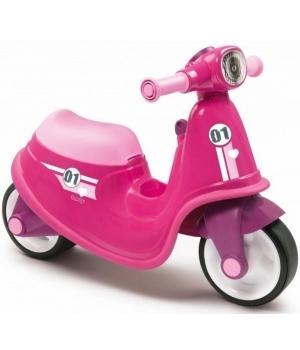 Беговел скутер для детей, розовый, Smoby