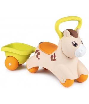 Детская каталка толокар с прицепом, Пони, от 1 года, Smoby