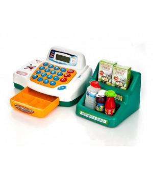 Детская игрушка магазин касса на батареках с продуктами, корзинкой