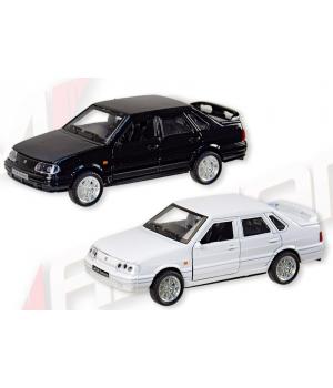 Машинка Лада Самара ВАЗ-2115 коллекционная модель Lada Samara металлическая, 1:32-1:36, (белый, черный), Автопром