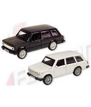 Машинка Жигули ВАЗ-2102 коллекционная модель Lada 2102 металлическая, 1:32-1:36, (белый, черный), Автопром